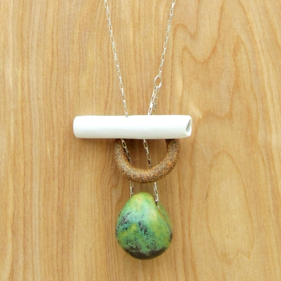 Porcelain + Stoneware Loop/Tube/Bauble Necklace
