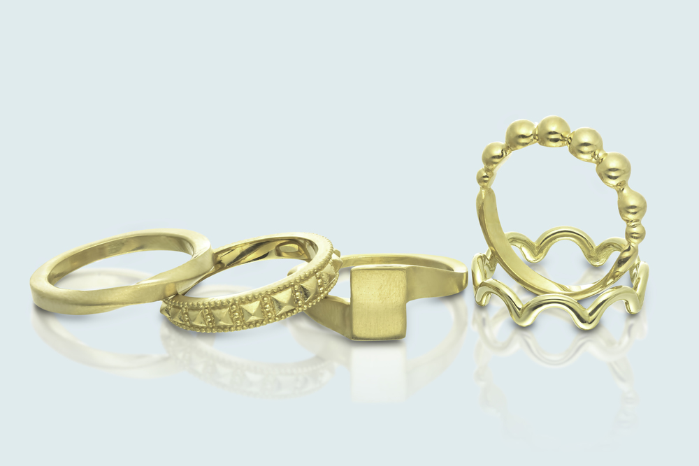 A verity of kosher wedding rings by GOLD'NBERG