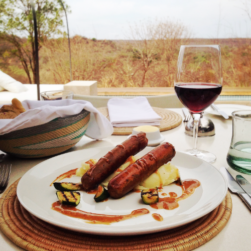 Vegan Bangers and Mash, with a glass of Kosher wine