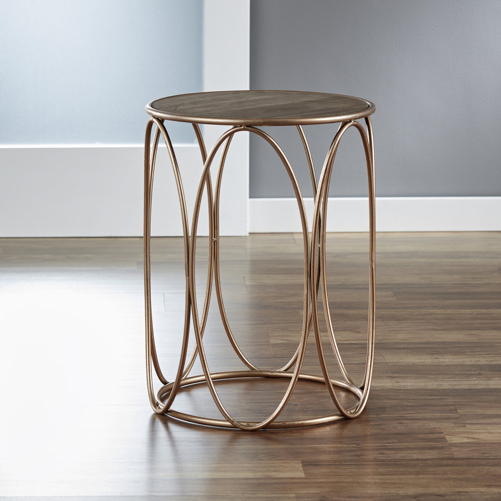 Oval Side Table with Wood Tabletop