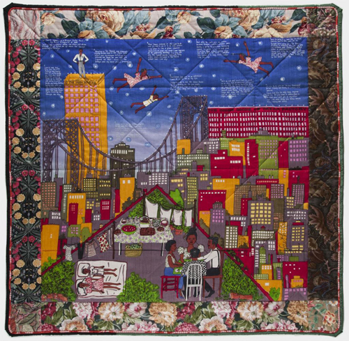 "Faith Ringgold's ""Tar Beach 2"" Quilt, on view in ""Represent."""