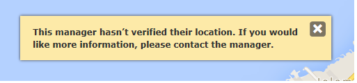Message that will appear on the property page if you do not have a reified location.