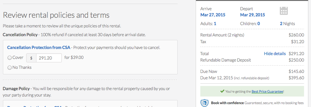 Example 2.1: Guest is shown the refundable damage deposit amount