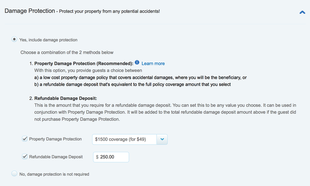 Example 3: Set your accidental coverage amount and enter a separate refundable damage deposit amount