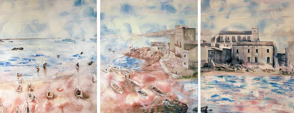 """""""Spanish triptych"""" - Oils on canvas - 60cm x 40cm x 3 - Commission"""