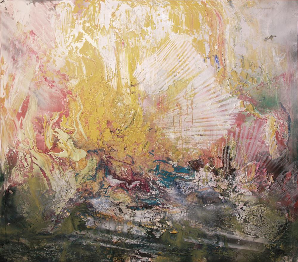 'Starburst' - Oils, acrylic and aerosolon canvas - 145cm x 160cm - Commission