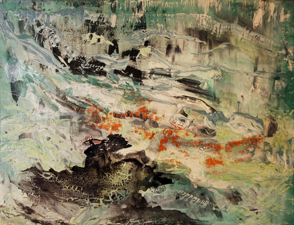 'Beginnings' -Oils, Acrylic and aerosol on canvas - 81cm x 101cm