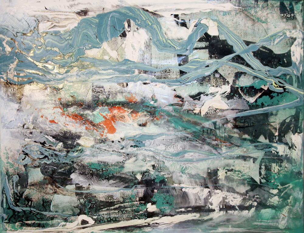 'Foundation' -Oils, Acrylic and aerosol on canvas -81cm x 101cm