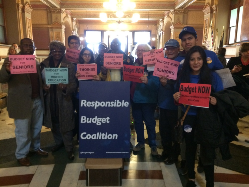 JASC leaders and student interns travel to Springfield to protest the Governor's misguided address on January 27th.