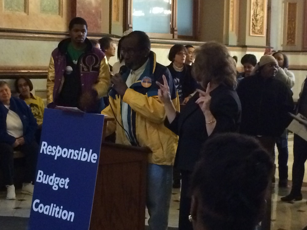 Instead, Victor spoke on the State of OUR State in Springfield, urging the Governor and our state legislators to pass progressive revenue such as the Fair Tax, and to end the cuts once and for all!