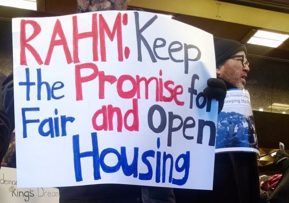 "Seniors and allies disrupted Mayor Emanual's MLK Breakfast speech to demand he take action on CHA reform and pass the ""Keeping The Promise"" Ordinance."