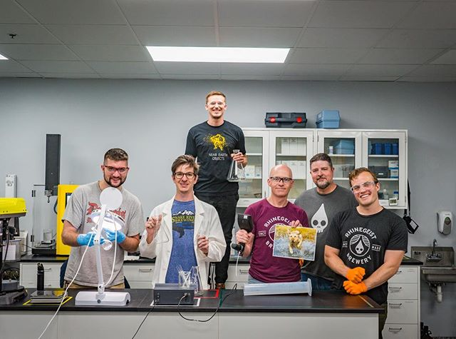SCIENCE.⠀ Meet our lab team. They are our quality wizards, our champions of consistency, the squad that makes sure that our beer is up to snuff before it heads out into the world. Think of these PPE people the next time you crack open a Rhinegeist brew. ⠀ #sensorysquad #cincymade #labradory