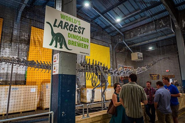 Our 50-foot-long, 150-million-year-old dino intern will be here until early September, when it heads to its permanent home at the newly-renovated @cincymuseum !⠀ If you haven't seen this behemoth yet, stop by the taproom on July 25 and hear CMC's Dr. Glenn Storrs, paleontologist Greg Ligett from the Bureau of Land Management, and our own Chief Science Officer Jim Matt discuss how 18 years of work resulted in the collection, conservation and preparation of this one-of-a-kind skeleton (and one delicious beer). This lecture is free, but tickets are needed (link in bio). We'll be slinging Jurassic Geist merch throughout the event!⠀ #thisisrhinegeist #taproomtitan #paleoales