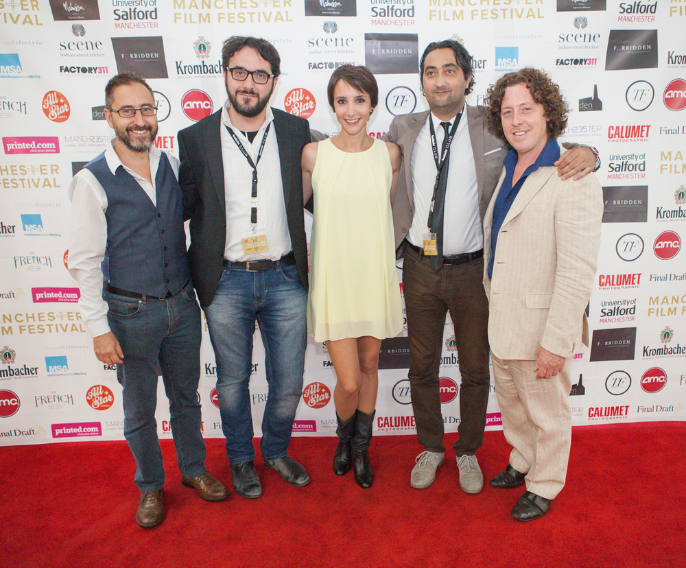 Douglas Dean, director Emiliano Galigani, Manuela Parodi, producer Edoardo Marazita, Mickey Martin all ready for the world premiere of 'The Imago'.