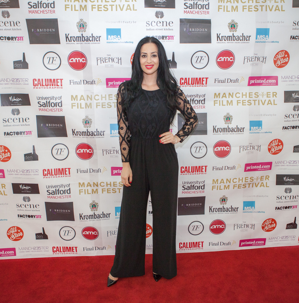 ManIFFTV presenter Maria Kouka looking poised as ever on the red carpet at ManIFF2015