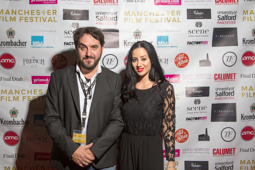 The Imago director Emiliano Galigani with ManIFFTV presenter Maria Kouka.