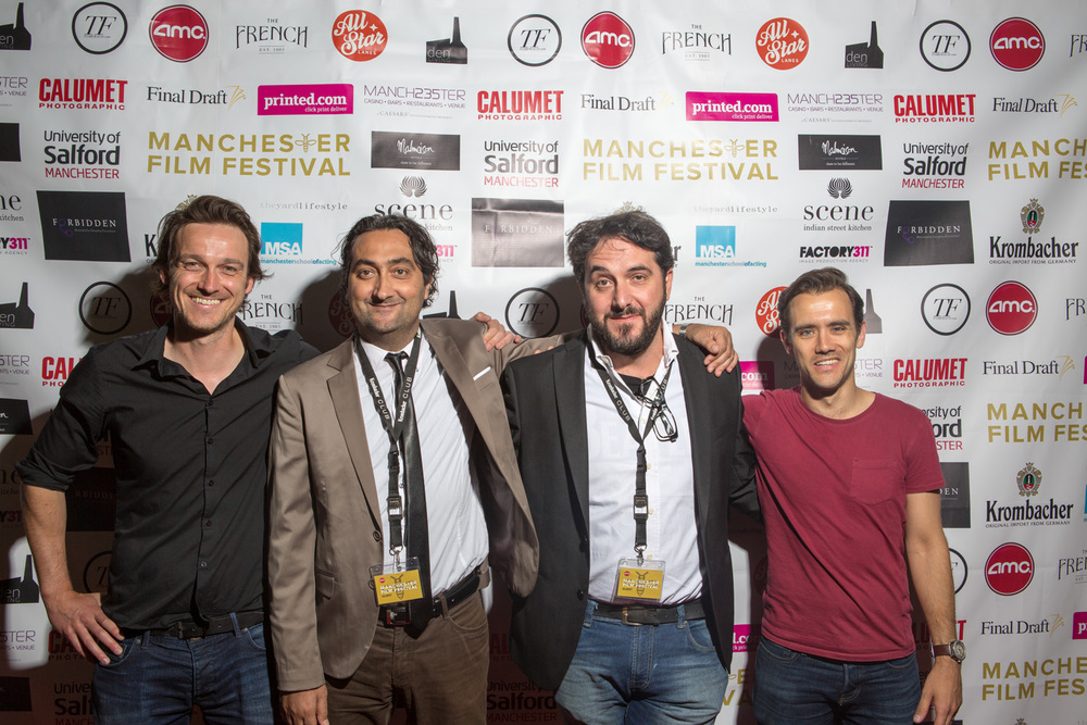 ManIFF directors Al Bailey and Neil Jeram Croft welcome 'The Imago' director Emiliano Galigani and producer Edoardo Marazita.
