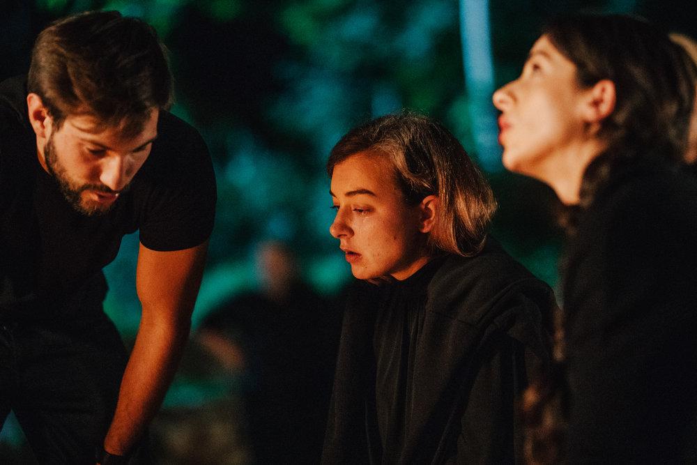 director Nejc Levstik, Liza Marija Grasic (Sara), Lara Komar (Irena)