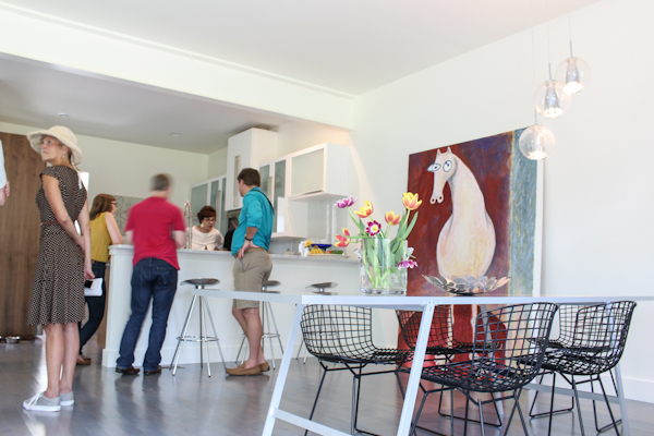 Pam discussing the unique green building technologies used in this Tonbo Meadow townhome