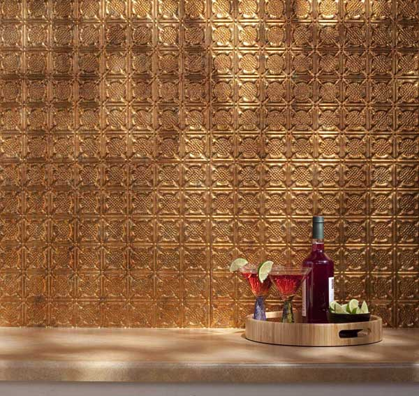 Gold tin backsplash