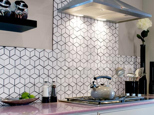 Geo white backsplash