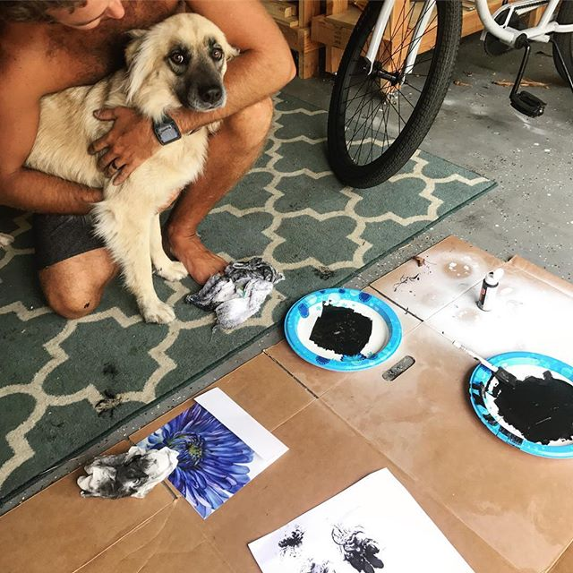 Thandi was not as excited as we were about the dog art 🐾 #assholeparents #pawprints #dogart #sundayfunday