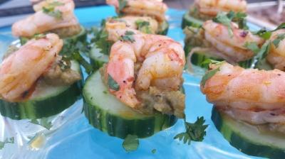 Cajun Shrimp & Cucumber Appetizer