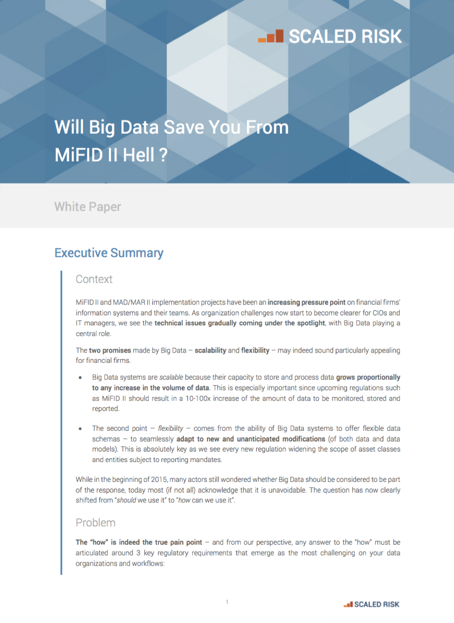 Scaled Risk : Data Transformation for financial services