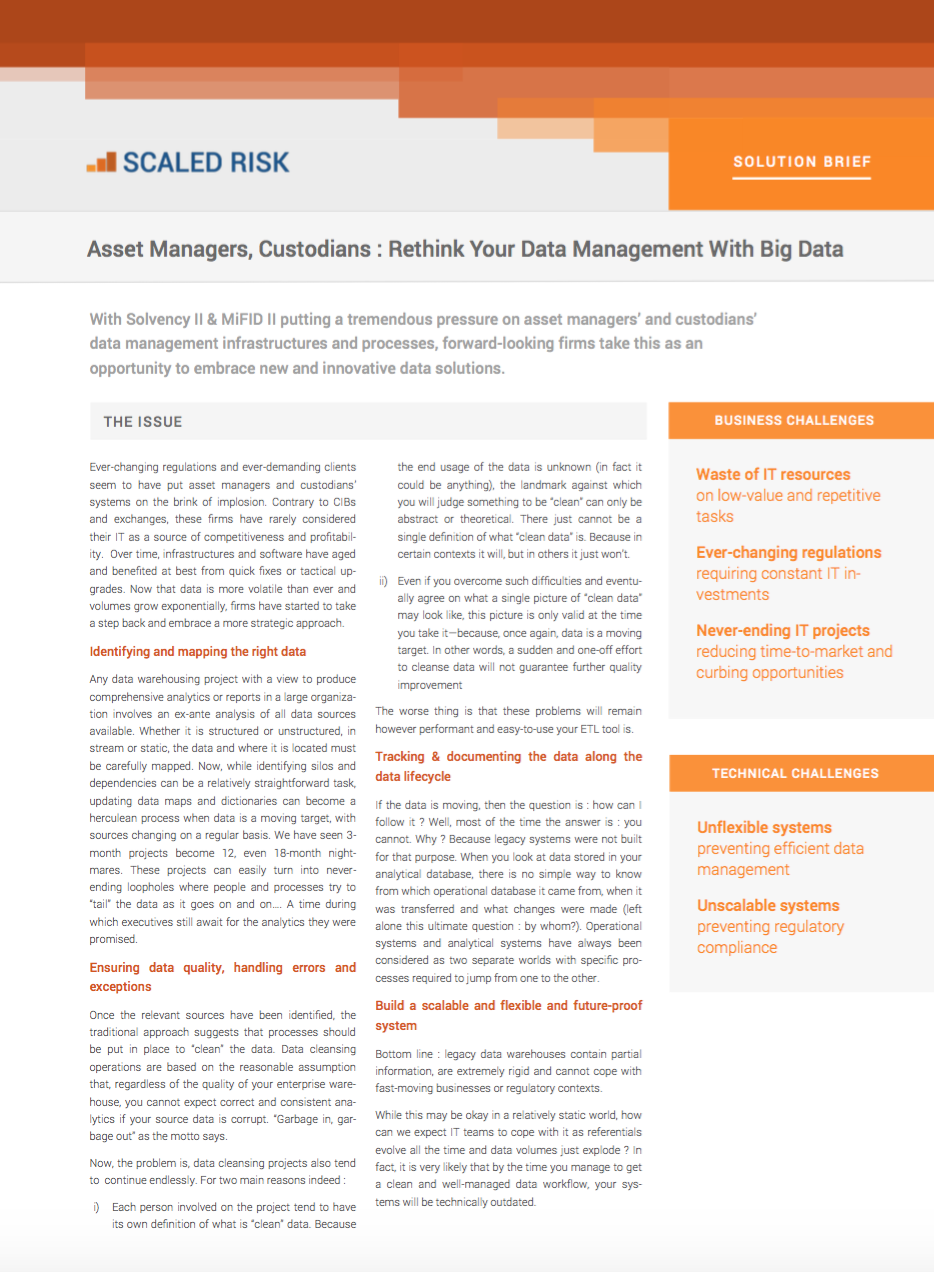 SOLUTION BRIEF: Asset Managers, Custodians: Rethink your data management with Big Data