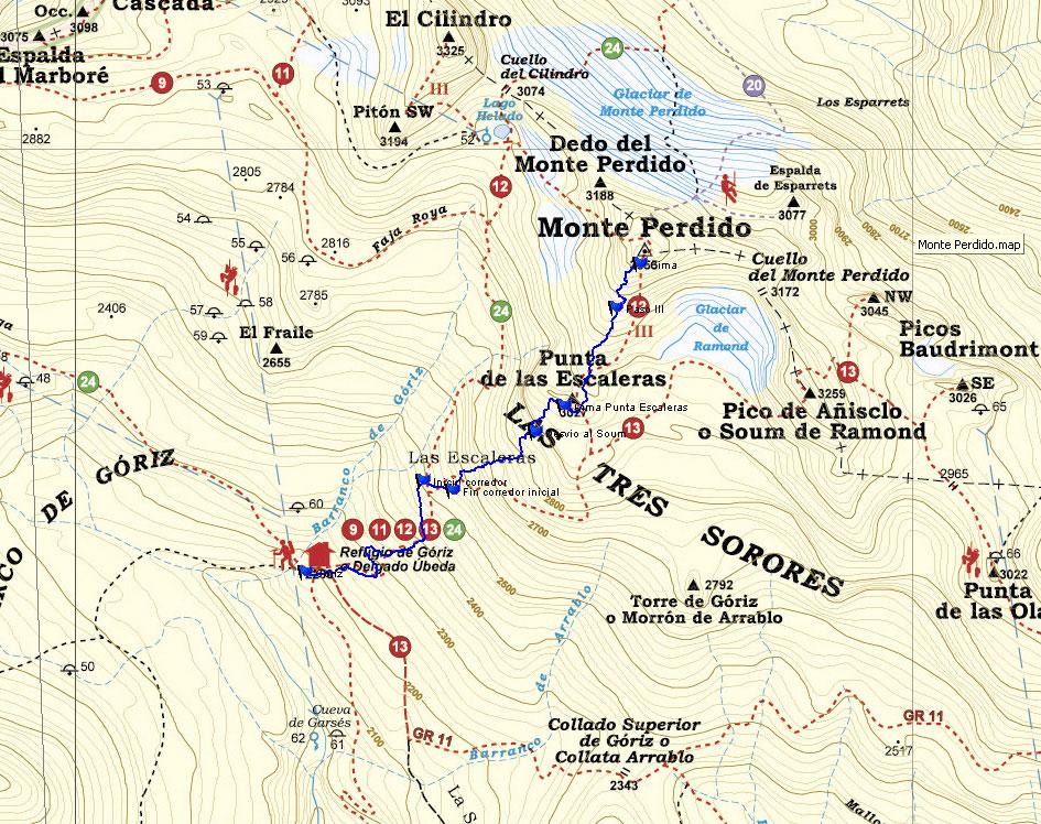 Trazado del track sobre el  mapa de la editorial Alpina 1.30.000