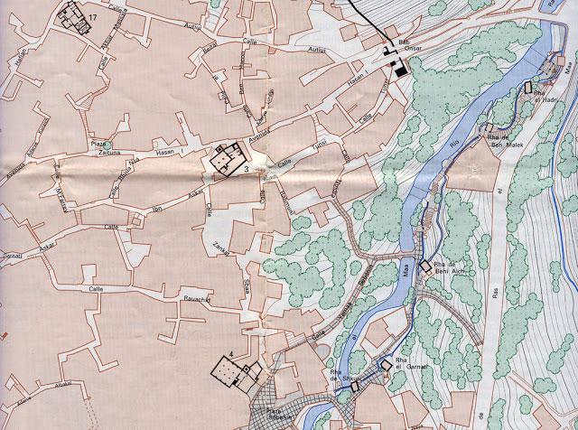 Zona de los Molinos de Raas el Maa. Plano de Carlos Sánchez Gómez.