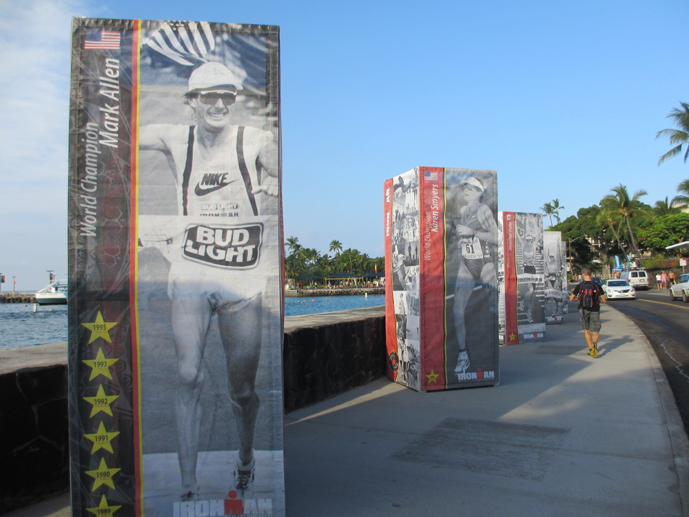 Former champions idolized next to the sea wall.