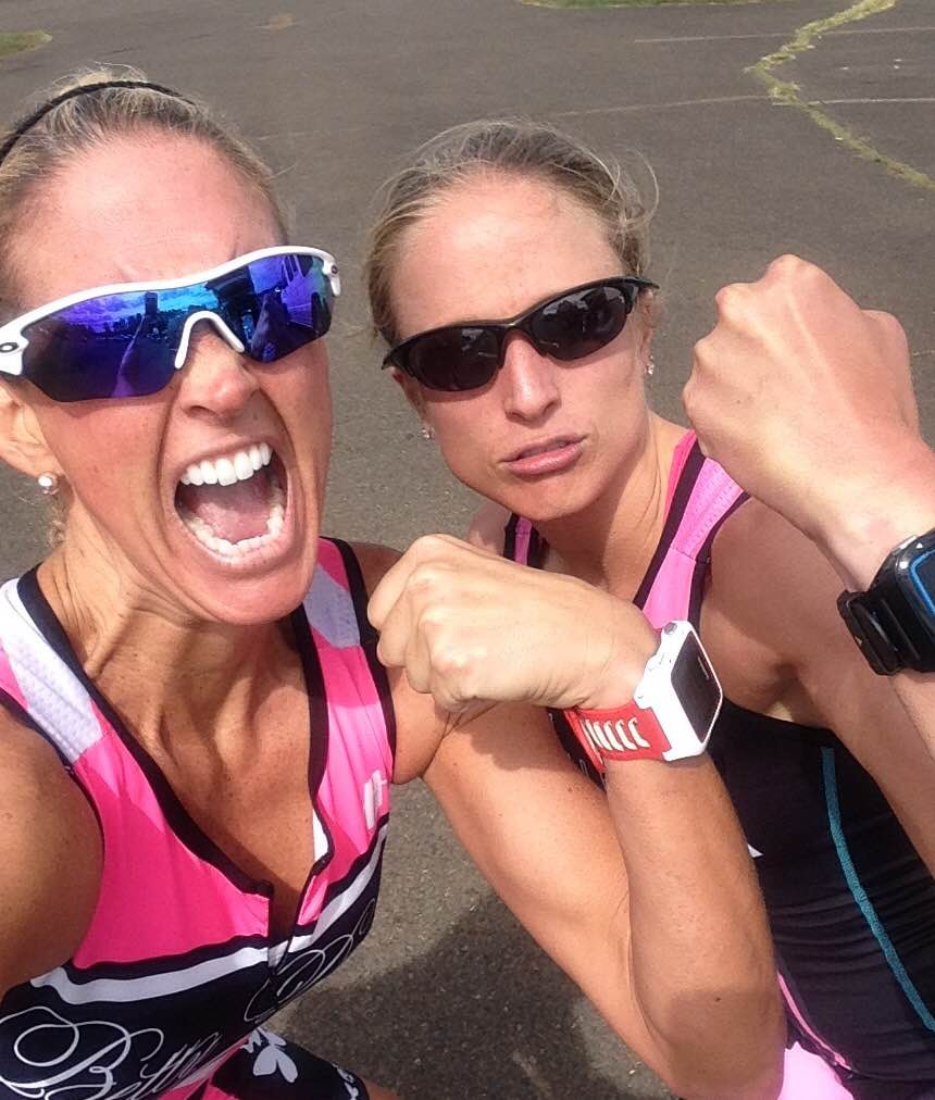 Ginny and I pretending to be tough after the race. Photo Credit goes to Ginny Cataldi.