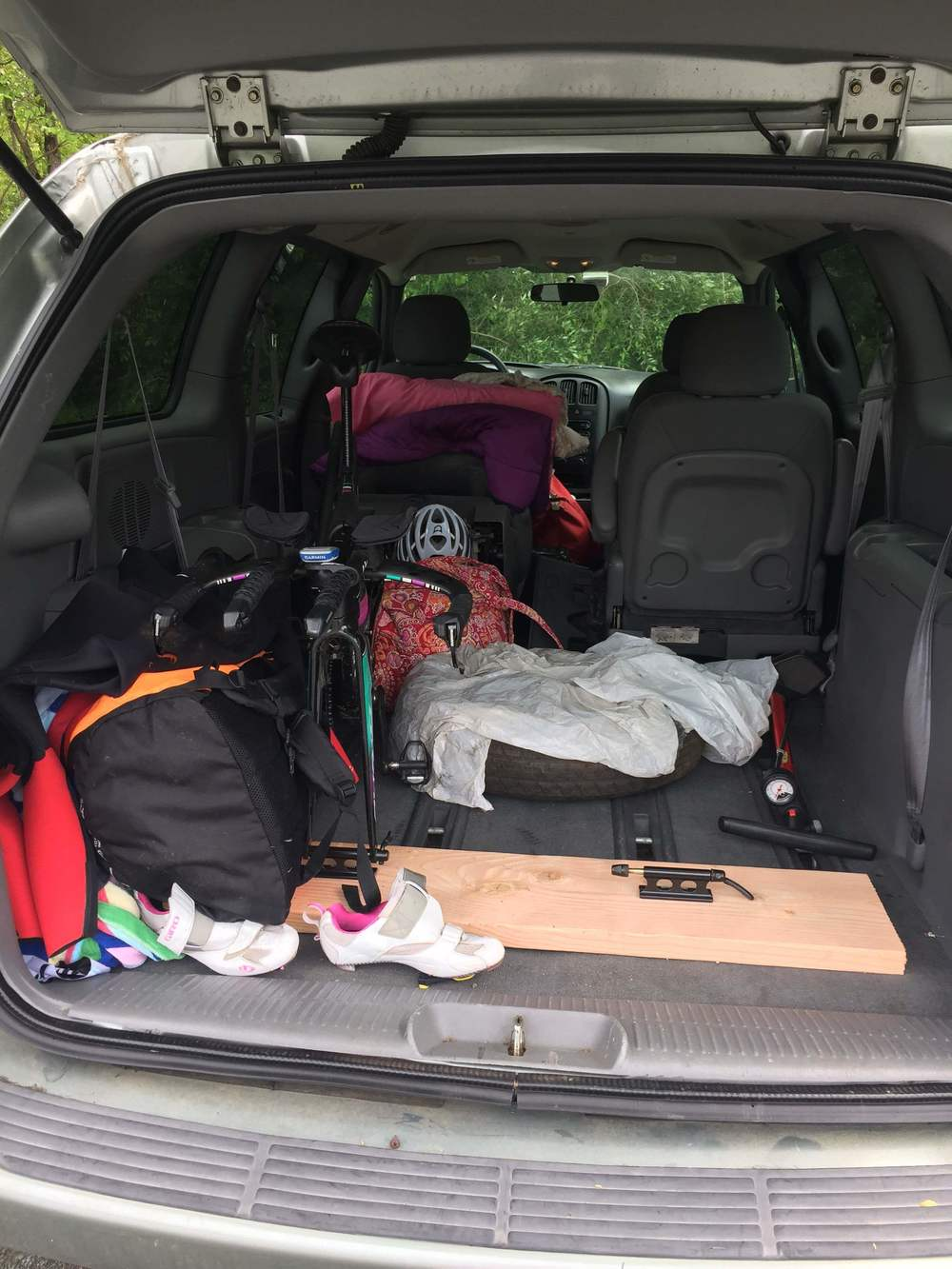 Triathlon: a minimalist sport. Good thing I drive a minivan to fit all of the stuff I need for a weekend at a race.