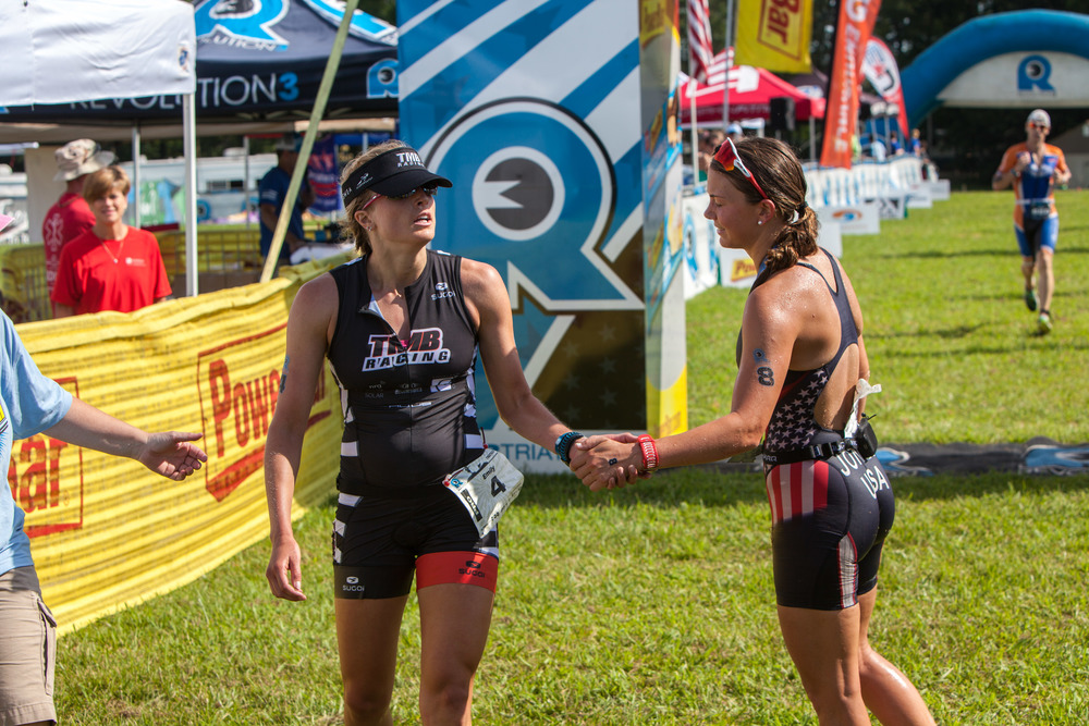 Congratulating Erin at the finish.