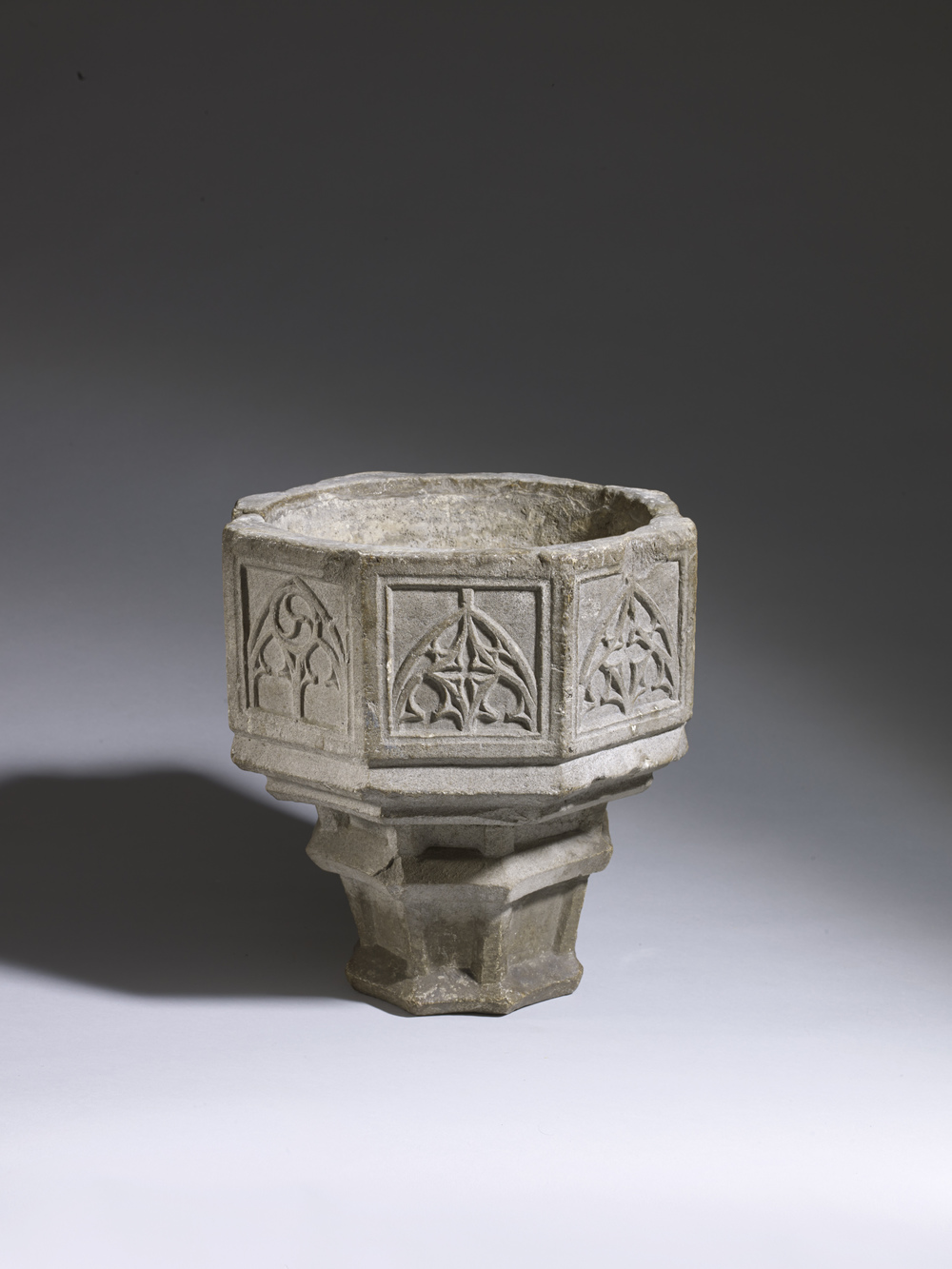 Miniature Font England 14th century Height: 30.4 cm, limestone