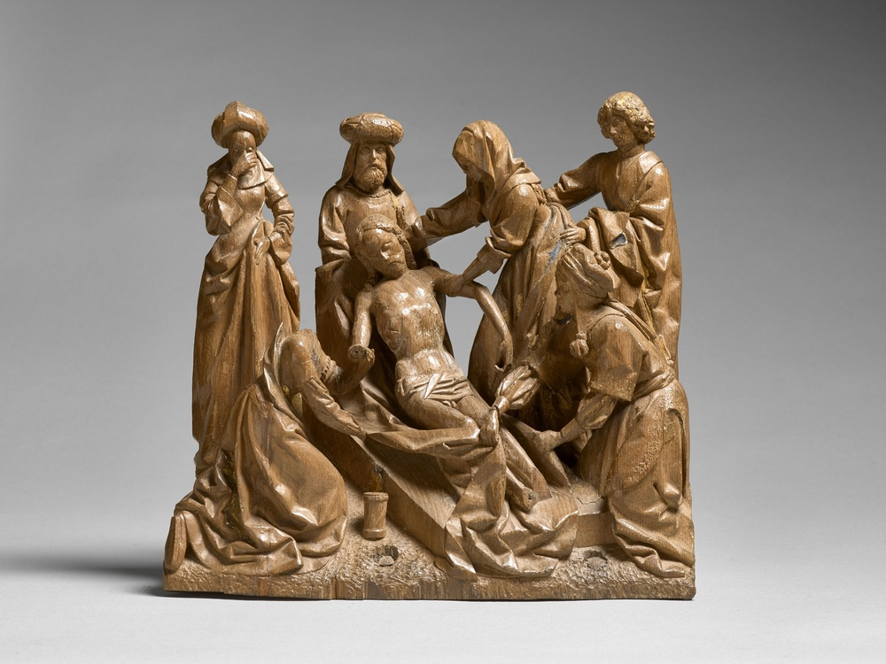 The Entombment Circle of Jan Borman (fl. c. 1479-1520) Brussels End 15th century Height 27 cm, oak   Provenance: Goldschmidt Collection, The Netherlands