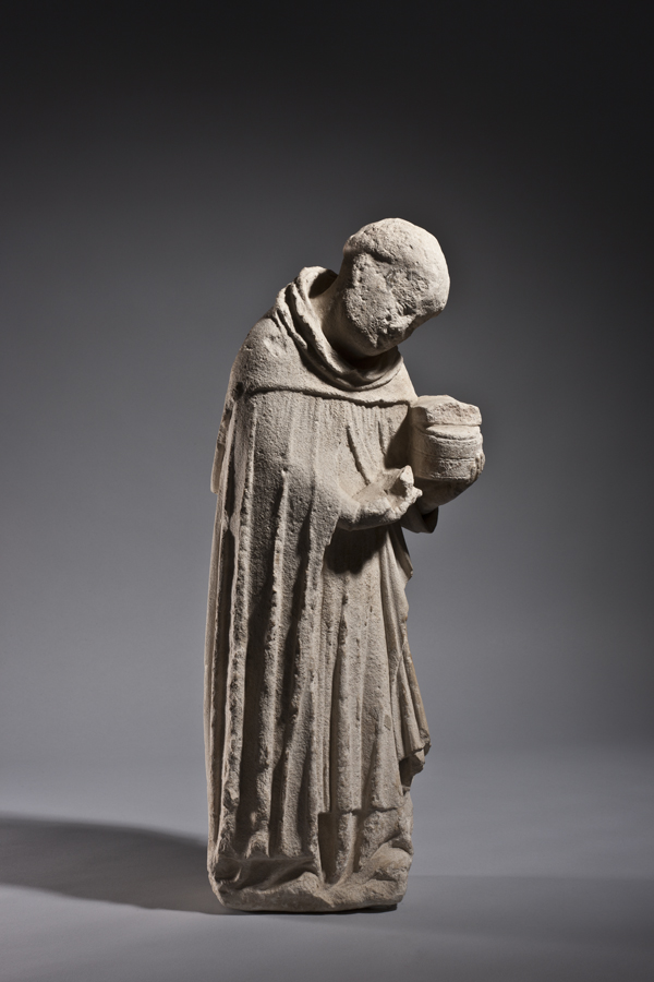 An embalming monk France, Lorraine c. 1300 Height 54.5 cm; limestone   An embalming monk France, Lorraine c. 1300 Height 54.5 cm; limestone