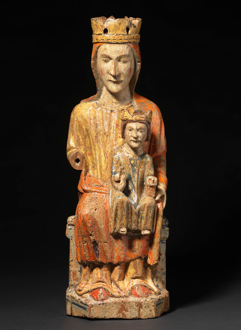 Virgin and Child in Majesty Spain, Léon Mid 13th century Provenance: Private Collection, Spain 54 x 18.5 x 13 cm (hxwxd); wood with original polychrome     (1152)