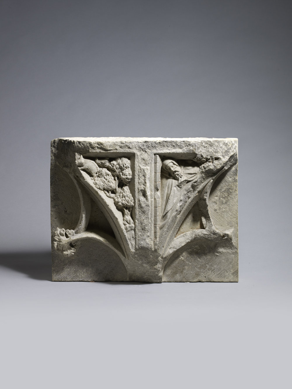 Spandrel with Saint Anthony Abbot France Late 14th century Provenance: Private Collection, London 37 x 45 x 5 cm; limestone   (1121)