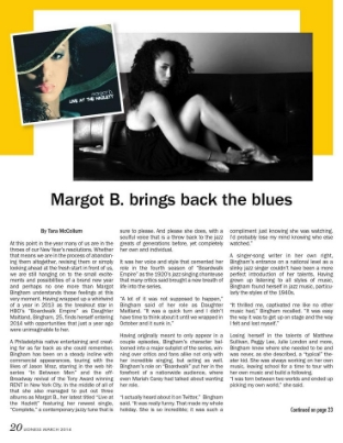 Margot B. Of HBO's Boardwalk Empire, Brings Back the Blues starting on page 20 and 23.