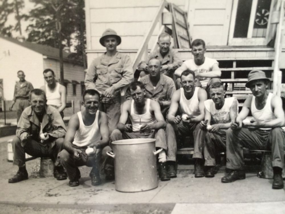 My grandfather is second in on the right, peeling potatoes, of course.