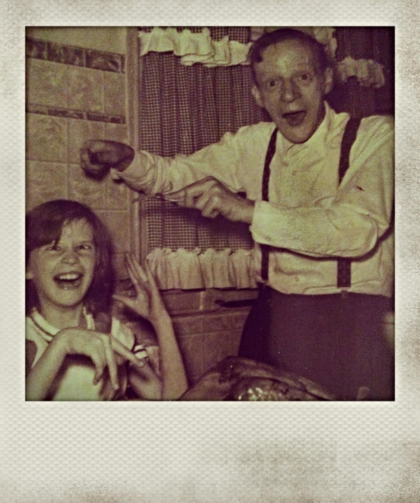My mom and her father, being wonderfully goofy and HAPPY on a Thanksgiving day many years ago.