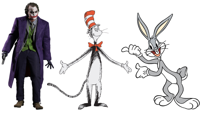 The Joker, Cat in the Hat and Bugs Bunny.