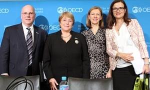 Marina Niforos, with President Michele Bachelet and US Ambassador Karen Kornbluh