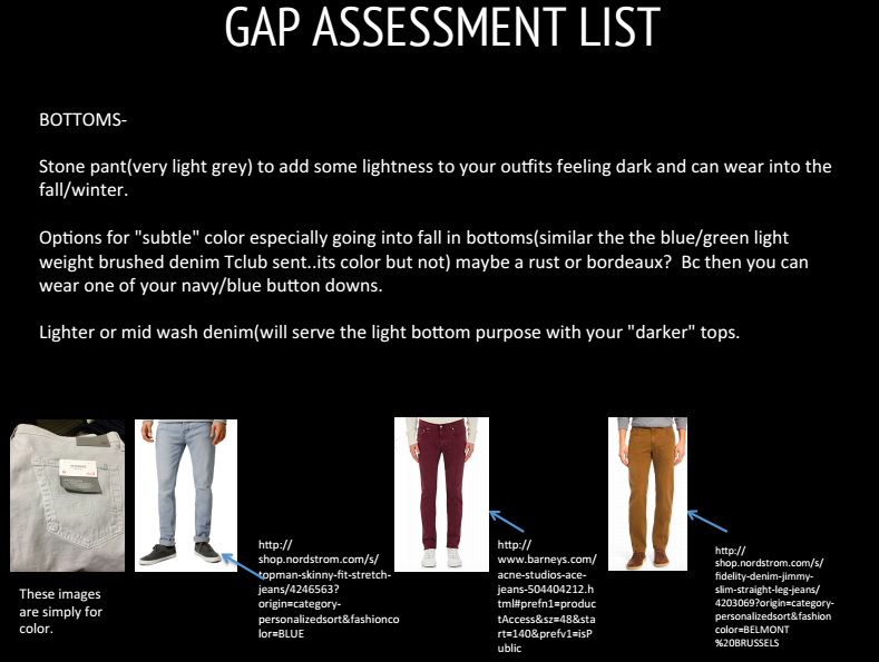 Gap Assessment list from Jeremy's lookbook from our wardrobe audit session.