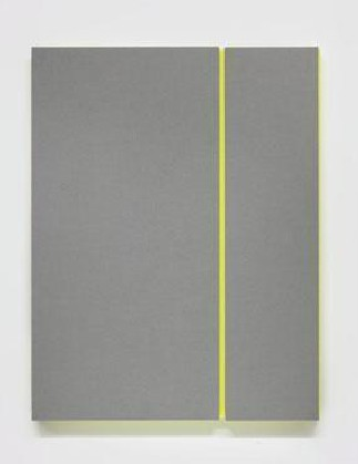 (L.) Soft Gray Tone with Reverberation #4, 2013, Acoustic absorber panel and acrylic paint on canvas, 36 x 48 inches. (R.) Soft Gray Tone with Reverberation #2, 2013,