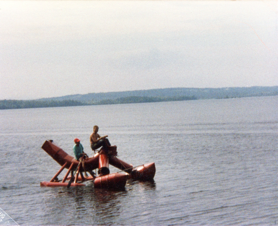 Lake Wesserunsett and work, 1987