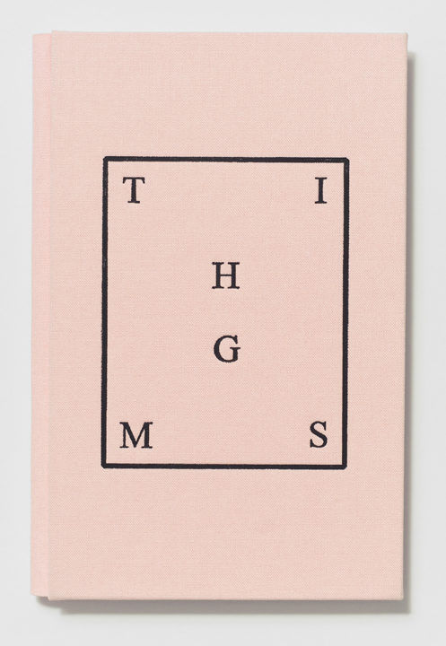 THIMGS  (2014), 7 5/16 x 4 13/16 x 7/16 inches, Printed by the artist and hand-bound by Biruta Auna (Cover detail)
