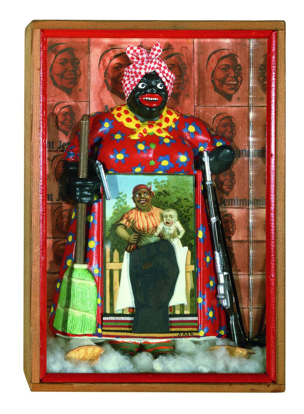 "Betye Saar (b.1926) The Liberation of Aunt Jemima, 1972 mixed media assemblage 11 3/4"" x 8"" x 2 3/4"", signed Collection of University of California, Berkeley Art Museum; purchased with the aid of funds from the National Endowment for the Arts (selected by The Committee for the Acquisition of Afro-American Art).  Courtesy of Michael Rosenfeld Gallery LLC, New York, NY.  Photograph by Joshua Nefsky."